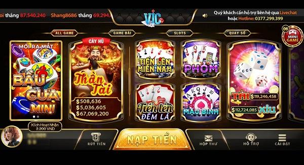 Vic.win có thiết kế giao diện đồ họa bắt mắt