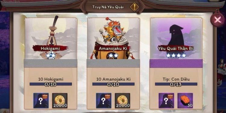 Âm Dương Sư - Onmyoji: cách làm nhiệm vụ Bounty Quest ở Server Global